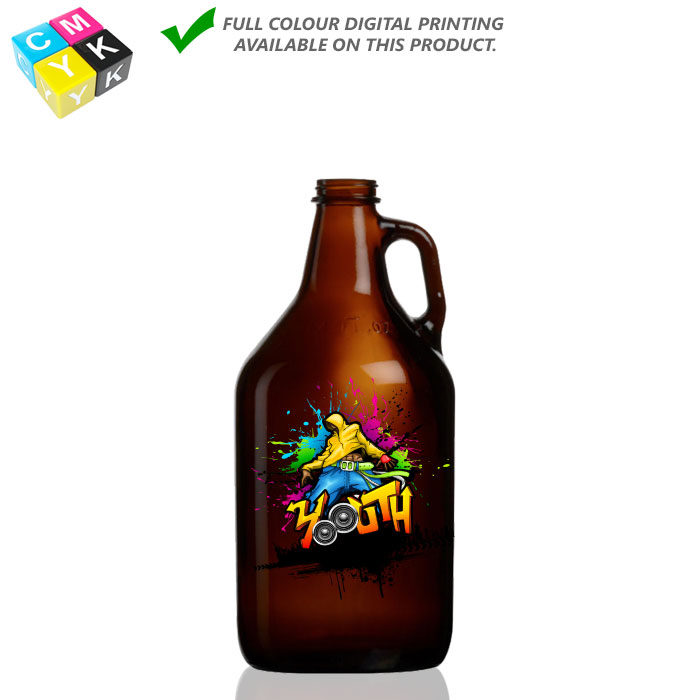 Grow-Amb-32 Amber Growler 32oz Digital printing