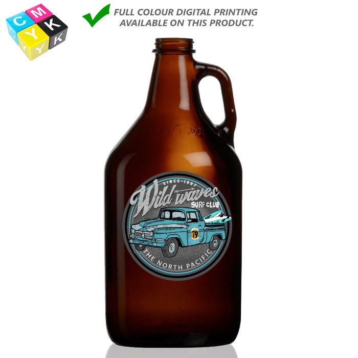 Grow-Amb-64 Amber Growler 64oz Digital Printing