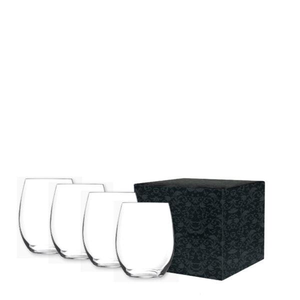 Customized Stemless Wine Glasses Gift Set, Custom Glassware